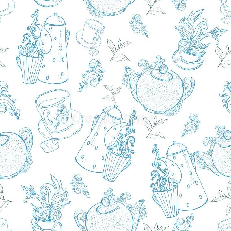 Rocznik herbaty porcelana. bezszwowy wzór ilustracja wektor