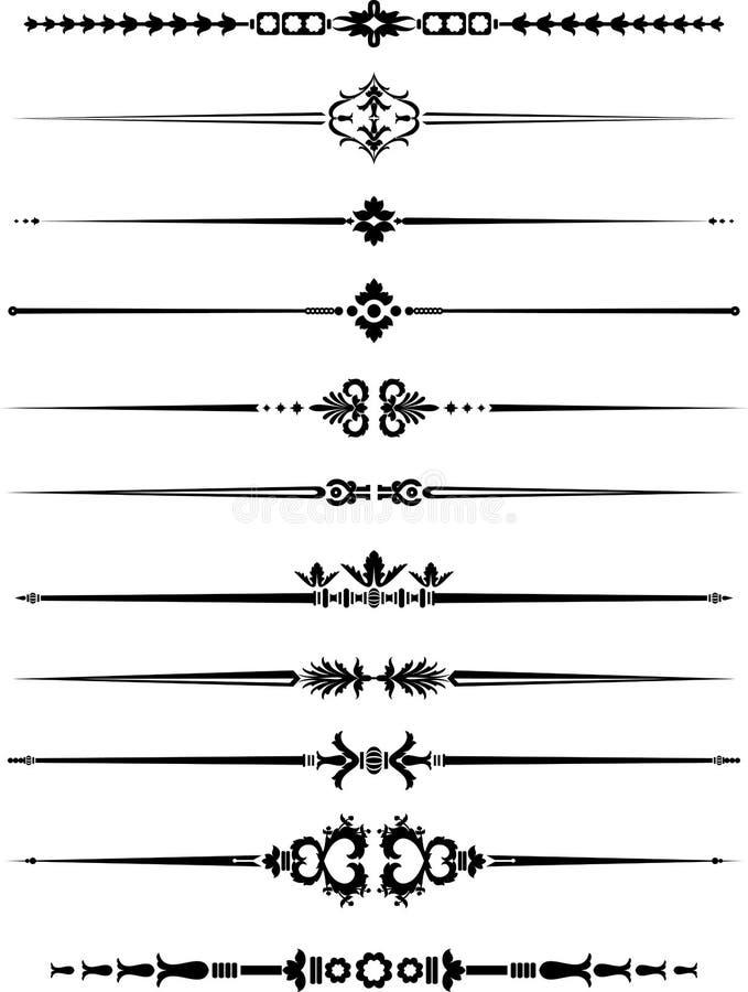 Rocznik Horyzontalnej linii wystrój ilustracja wektor