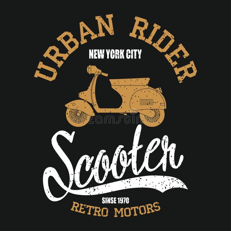 Rocznik hulajnoga Typografii grafika z moped ilustracja wektor