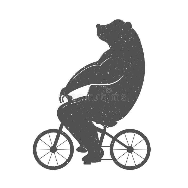 Rocznik ilustracja Śmieszny niedźwiedź na rowerze ilustracja wektor