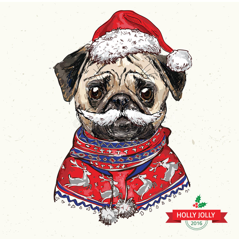 Rocznik ilustracja modnisia Santa mopsa pies obraz stock