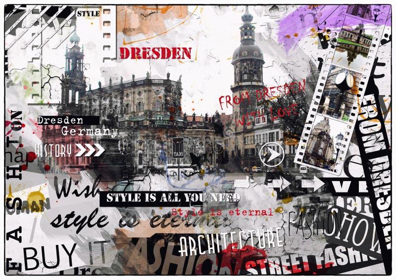 Rocznik ilustracja widoki Drezdeński obrazy royalty free