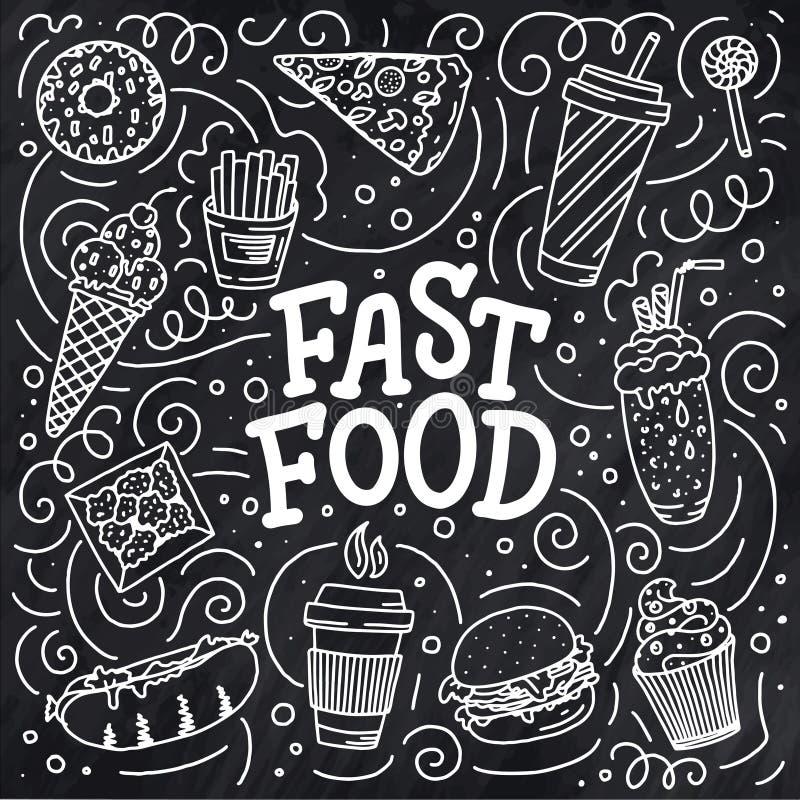 Rocznik ilustracja z fasta food doodle elementami i literowanie na tle dla pojęcie projekta Wektorowa ilustracja dla żadny zdjęcie stock