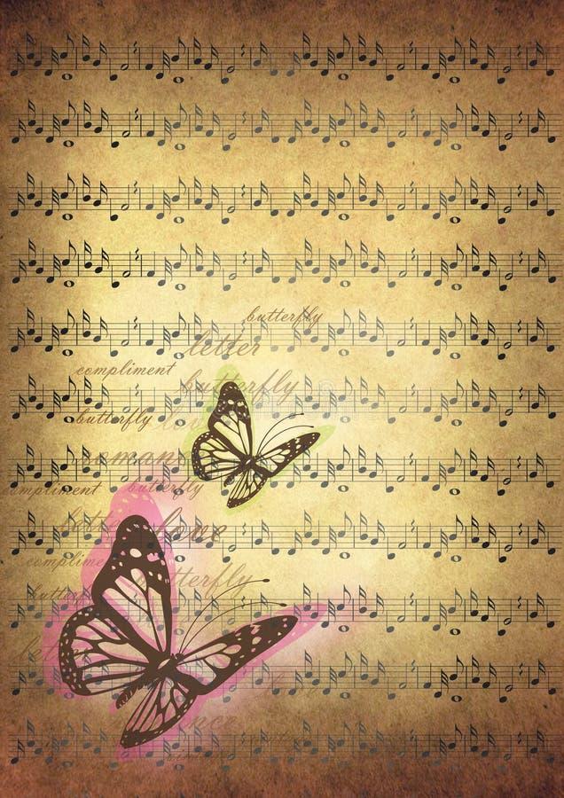 Rocznik ilustracja z muzyka motylami i notatkami royalty ilustracja