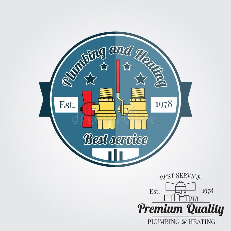 Rocznik instalaci wodnokanalizacyjnej usługa odznaka, sztandar lub loga emblemat, ilustracja wektor