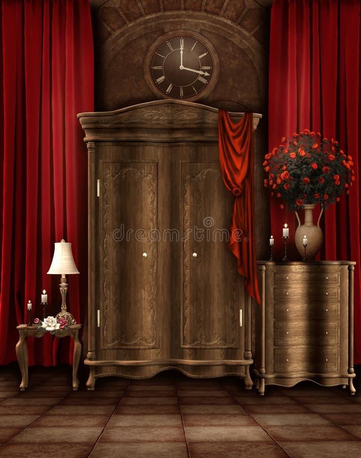 rocznik izbowa garderoba royalty ilustracja