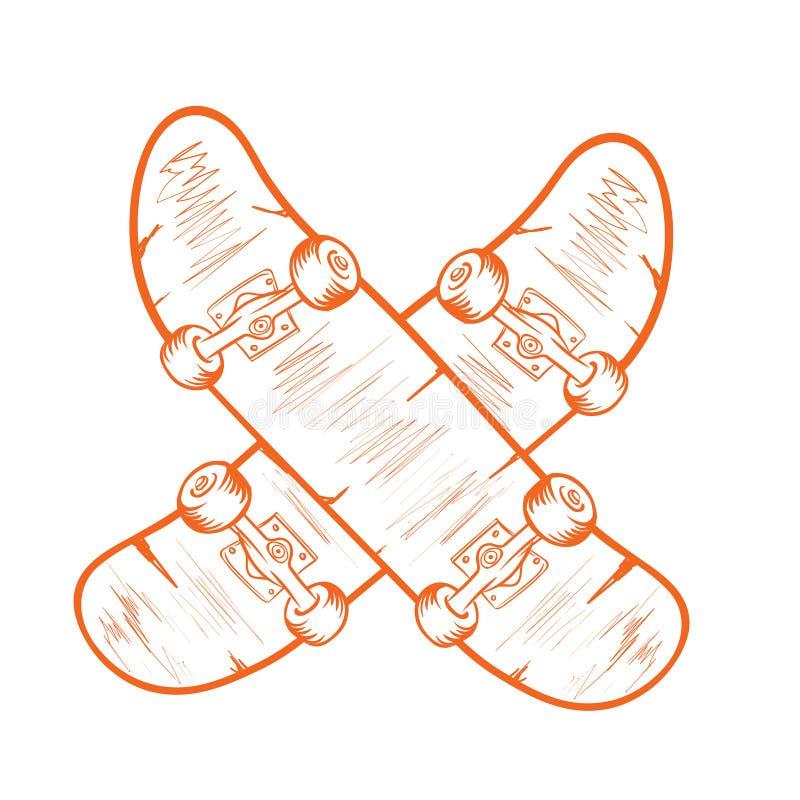 Rocznik jeździć na deskorolce monochromatycznego logotyp z krzyżuje jeździć na deskorolce odosobnioną wektorową ilustrację ilustracji