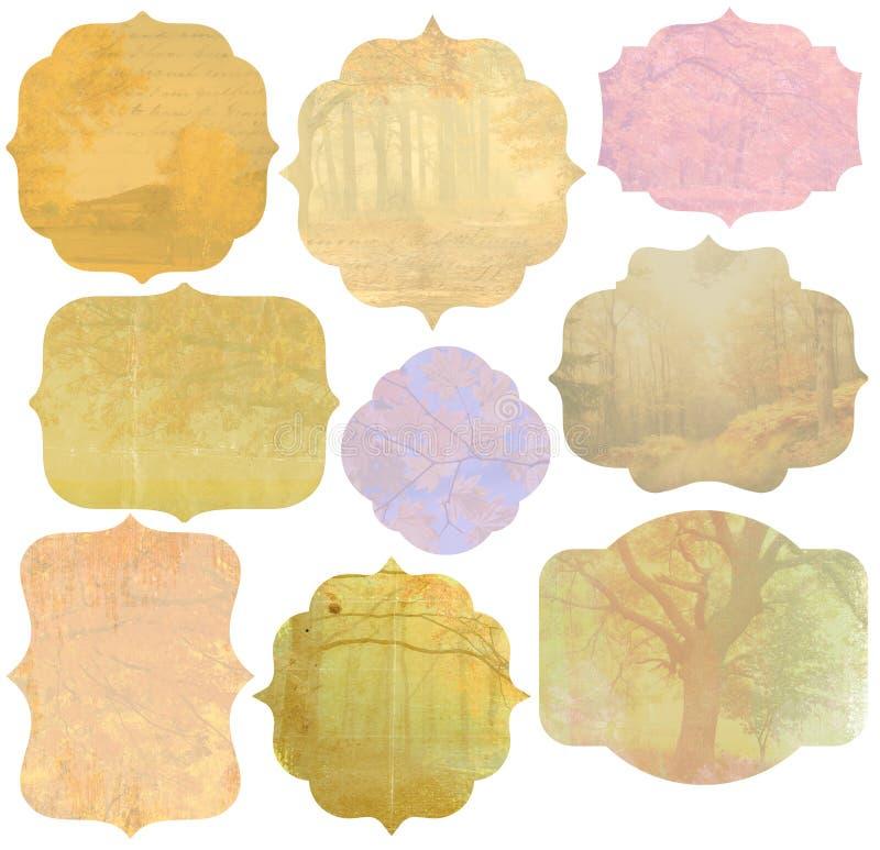 Rocznik jesieni etykietki ilustracja wektor