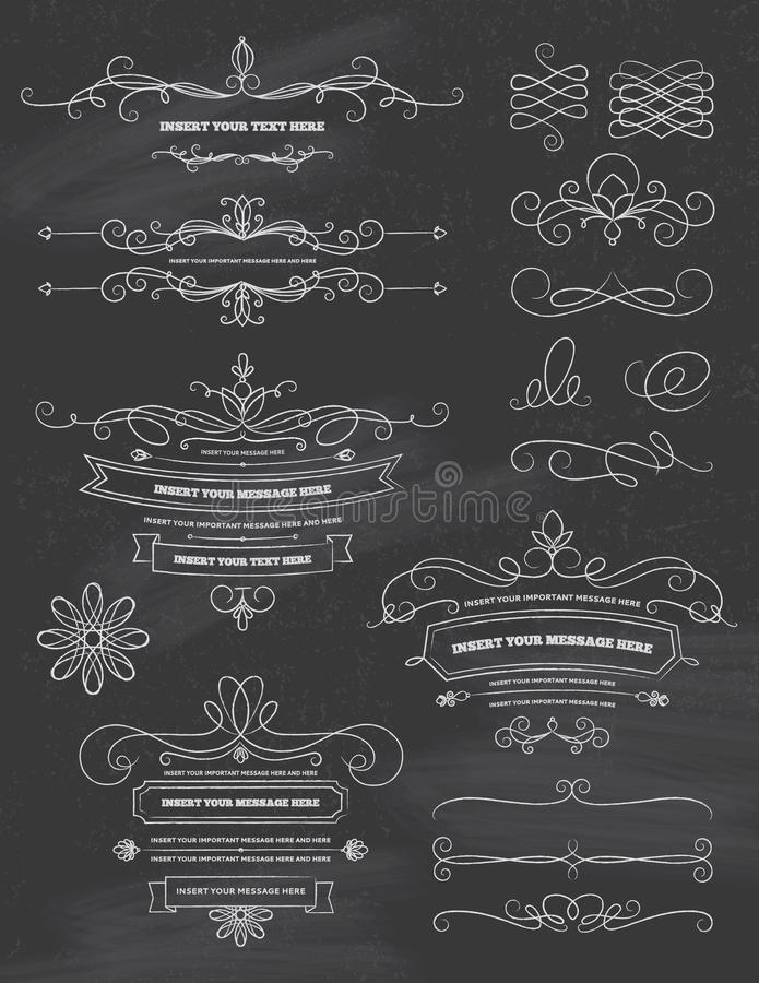Rocznik kaligrafii Chalkboard projekta elementy ilustracja wektor