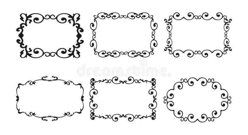 Rocznik kaligrafii dekoracyjny tło, wektorowy retro antykwarski pusty królewski barok granicy ramy set Minimalistic ilustracja ilustracji