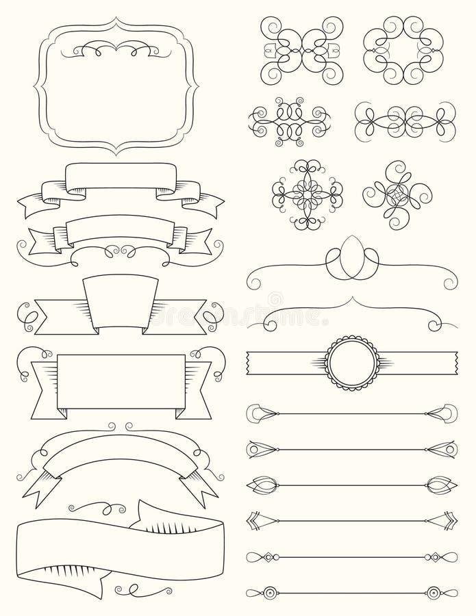 Rocznik kaligrafii projekta elementy Pięć ilustracja wektor