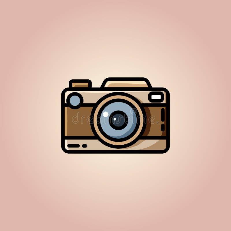 Rocznik kamera lub retro kamera, wektorowa p?aska ilustracja royalty ilustracja