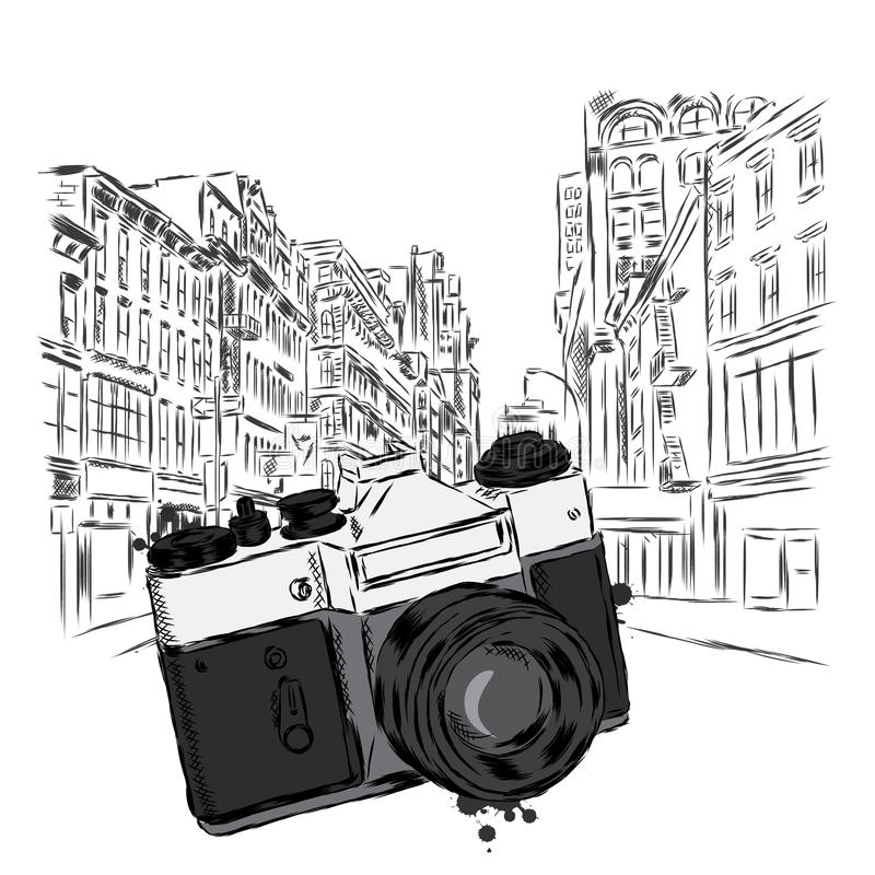 Rocznik kamera na miasto ulicie również zwrócić corel ilustracji wektora architektura ilustracja wektor