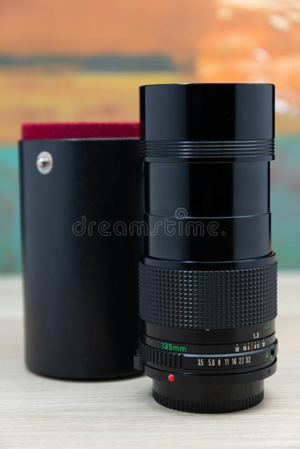 Rocznik kamery obiektyw dla slr dslr lub mirrorless fotografii fotografia stock