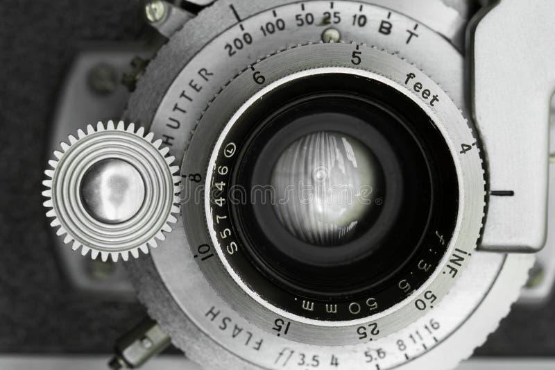 Rocznik kamery obiektywu zbliżenie zdjęcie royalty free