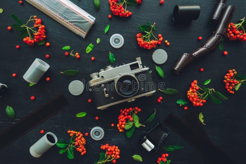 Rocznik kamery retro ekranowy mieszkanie nieatutowy zdjęcia royalty free