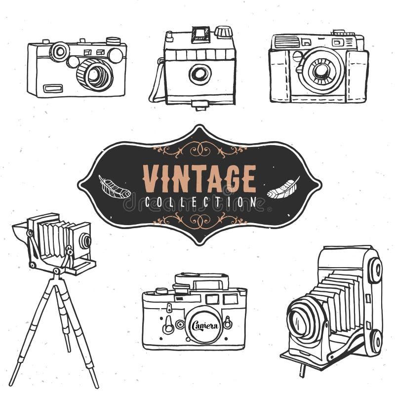 Rocznik kamery retro stara kolekcja ręka patroszony wektor ilustracja wektor