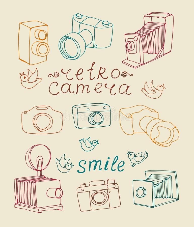 Rocznik kamery set ilustracji