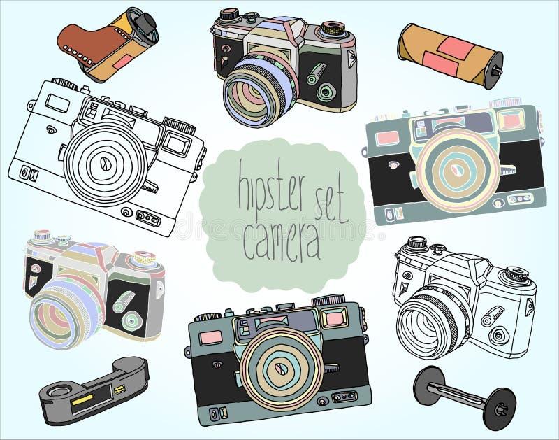 Rocznik kamery set royalty ilustracja