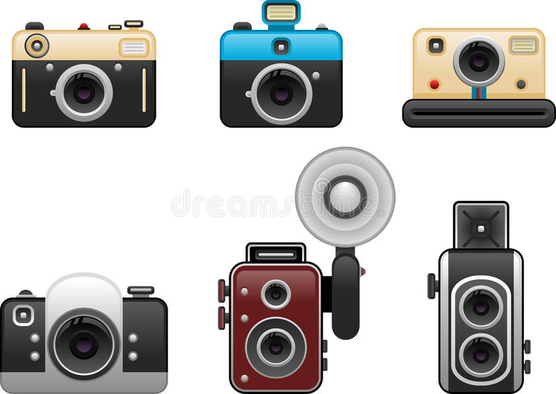Rocznik kamery ustawiają 2 royalty ilustracja