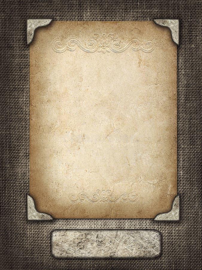 Rocznik karta w rzeźbiącej ramie na tkaniny tle fotografia royalty free