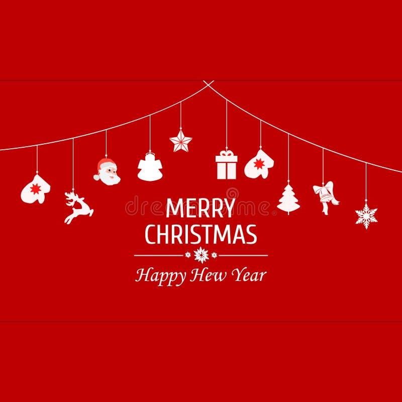 Rocznik karta z Bożenarodzeniowymi elementami Boże Narodzenie ornamentów wiszącej arkany czerwień również zwrócić corel ilustracj royalty ilustracja