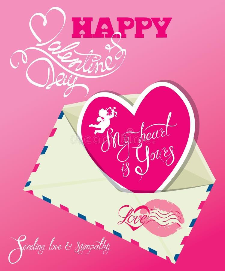 Rocznik karta z kopertą i menchii papierowy serce, Kaligraficzny h ilustracji