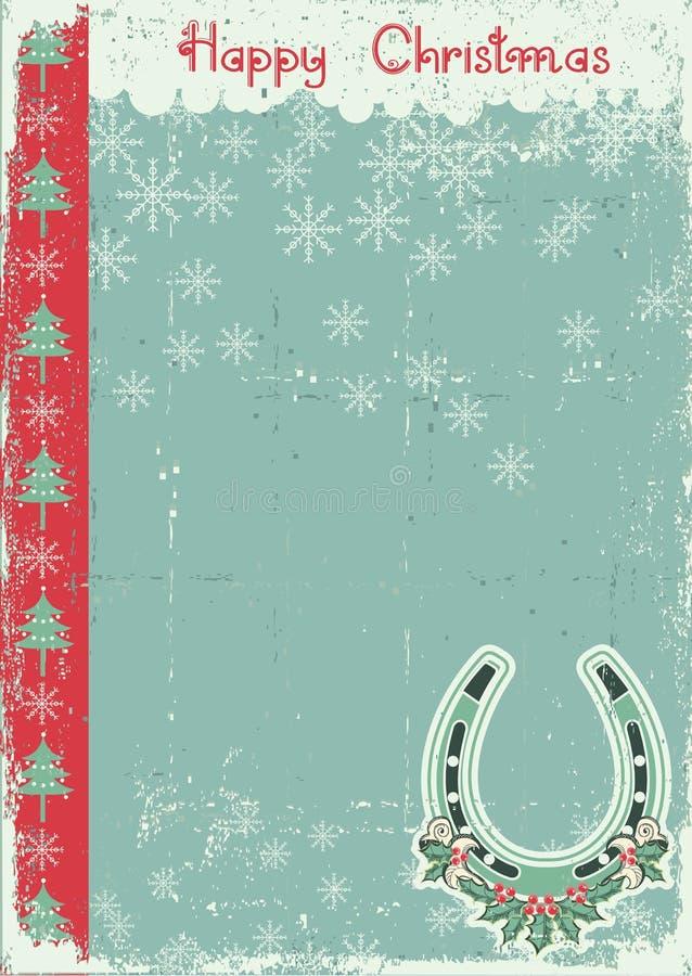 Rocznik kartka bożonarodzeniowa na starym papierze ilustracja wektor