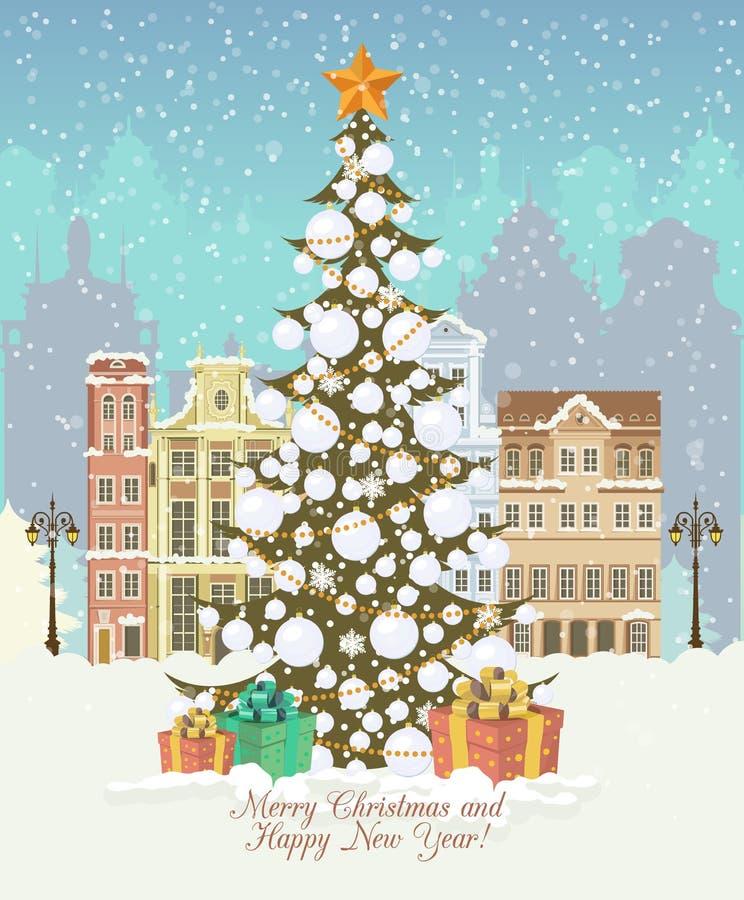 Rocznik kartka bożonarodzeniowa, wektor z prezentami i choinka, ilustracji