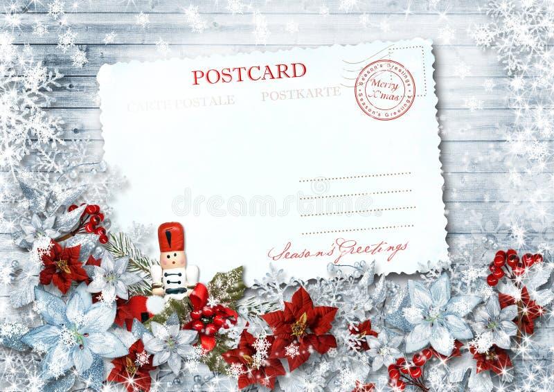 Rocznik kartka bożonarodzeniowa z dziadek do orzechów na ładnej girlandzie ilustracja wektor