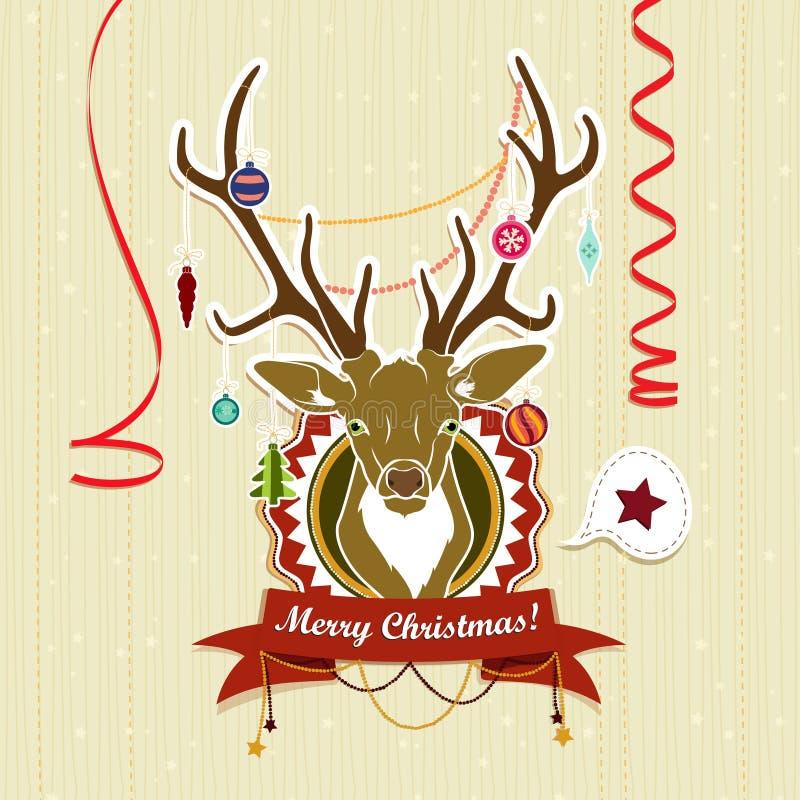Rocznik kartka bożonarodzeniowa z rogaczem ilustracja wektor