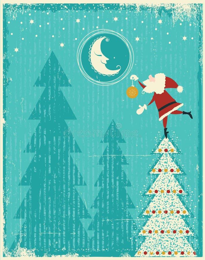 Rocznik kartka bożonarodzeniowa z Santa i ładną księżyc. Ve ilustracja wektor