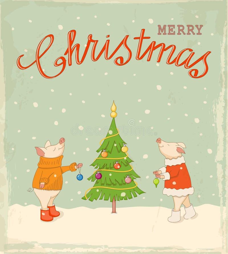 Rocznik kartka bożonarodzeniowa z szczęśliwymi par prosiątkami dekoruje jedliny ilustracja wektor