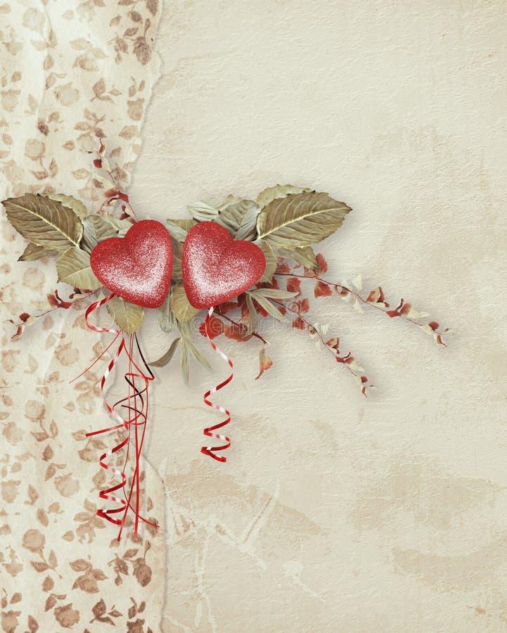 Rocznik kartka z pozdrowieniami z symbolicznym czerwonym sercem dla walentynka dnia ilustracja wektor