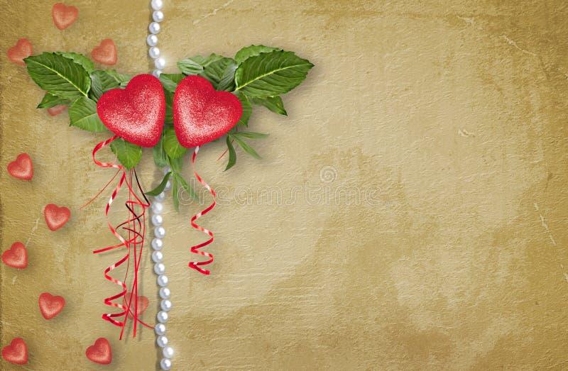 Rocznik kartka z pozdrowieniami z symbolicznym czerwonym sercem dla walentynka dnia ilustracji