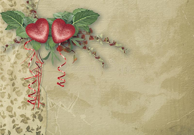 Rocznik kartka z pozdrowieniami z symbolicznym czerwonym sercem dla walentynka dnia royalty ilustracja