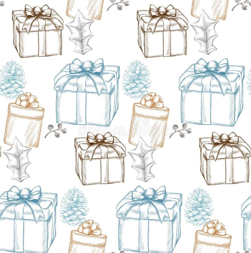 Rocznik kartki bożonarodzeniowej wektoru Wesoło lineart Bożenarodzeniowi prezentów pudełek tła dekorujący ilustracji