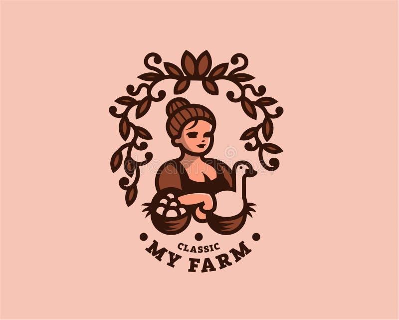 Rocznik kobiety rolnik z jajkami ilustracja wektor