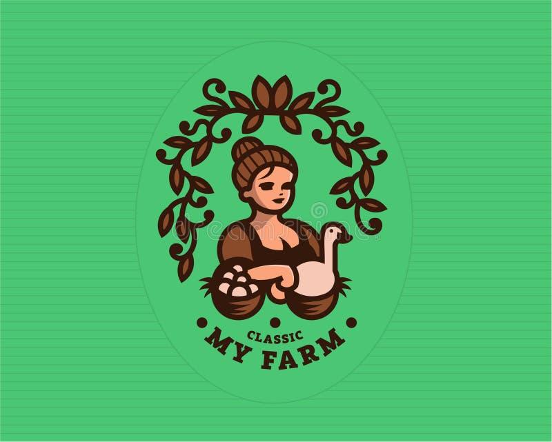 Rocznik kobiety rolnik z jajkami royalty ilustracja