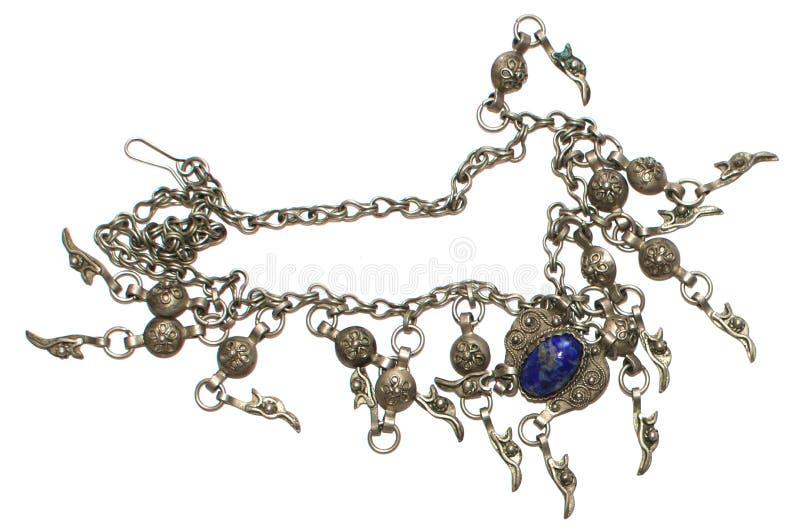 Rocznik kolia z błękitnym gemstone fotografia royalty free
