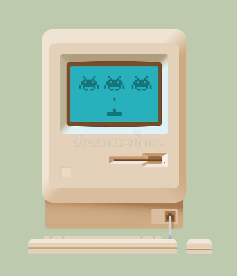 Rocznik komputerowa wideo gra z astronautycznymi najeźdźcami ilustracji