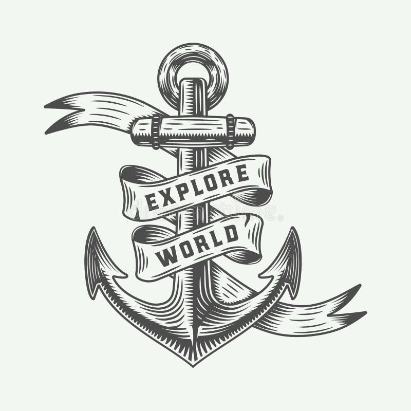 Rocznik kotwica w retro stylu z przygody typografią royalty ilustracja