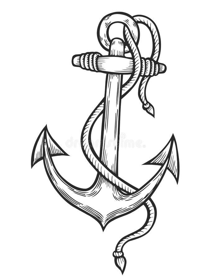 Rocznik kotwica z arkaną royalty ilustracja