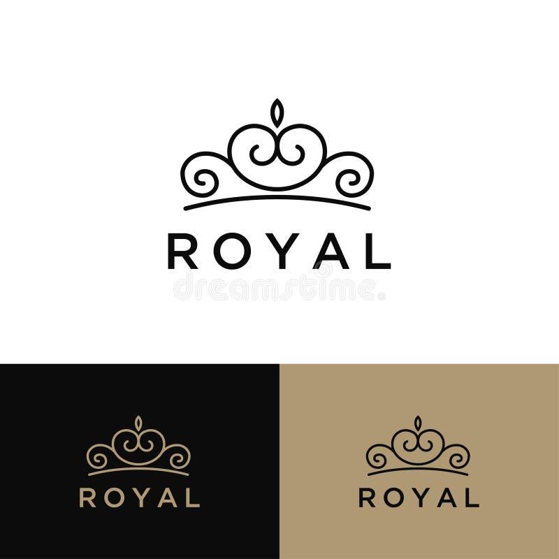 Rocznik Kreatywnie korony logo projekta wektoru abstrakcjonistyczny szablon Rocznik korony logo królewiątka królowej pojęcia symb ilustracja wektor