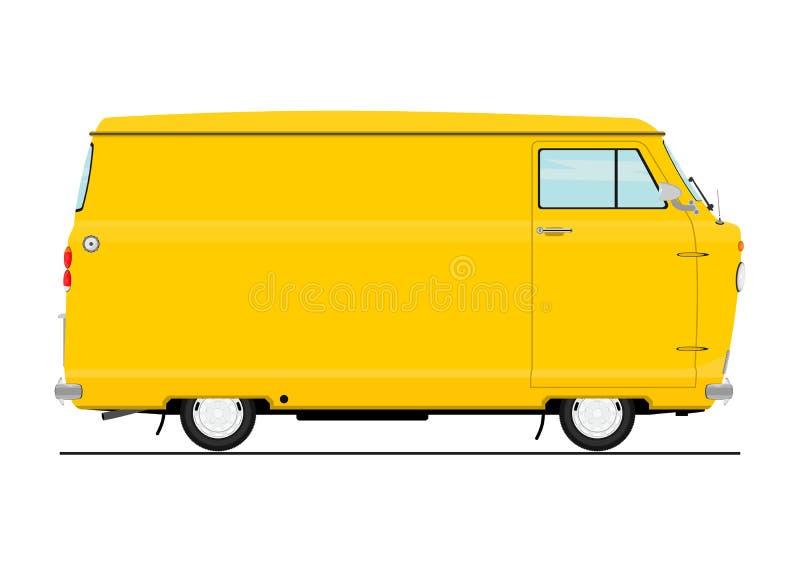 Rocznik kreskówki samochód dostawczy ilustracja wektor