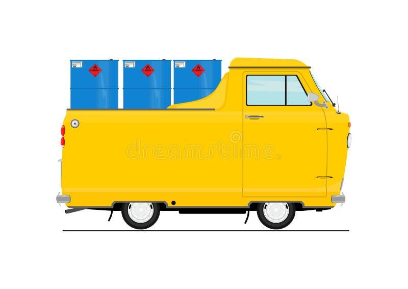 Rocznik kreskówki samochód dostawczy ilustracji