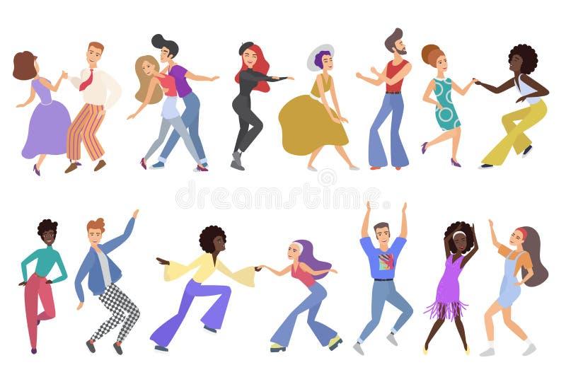 Rocznik kreskówki stylu szczęśliwe pary tancerze odizolowywający Mężczyźni i kobiety wykonuje tana przy rywalizacją, klub, taniec ilustracja wektor