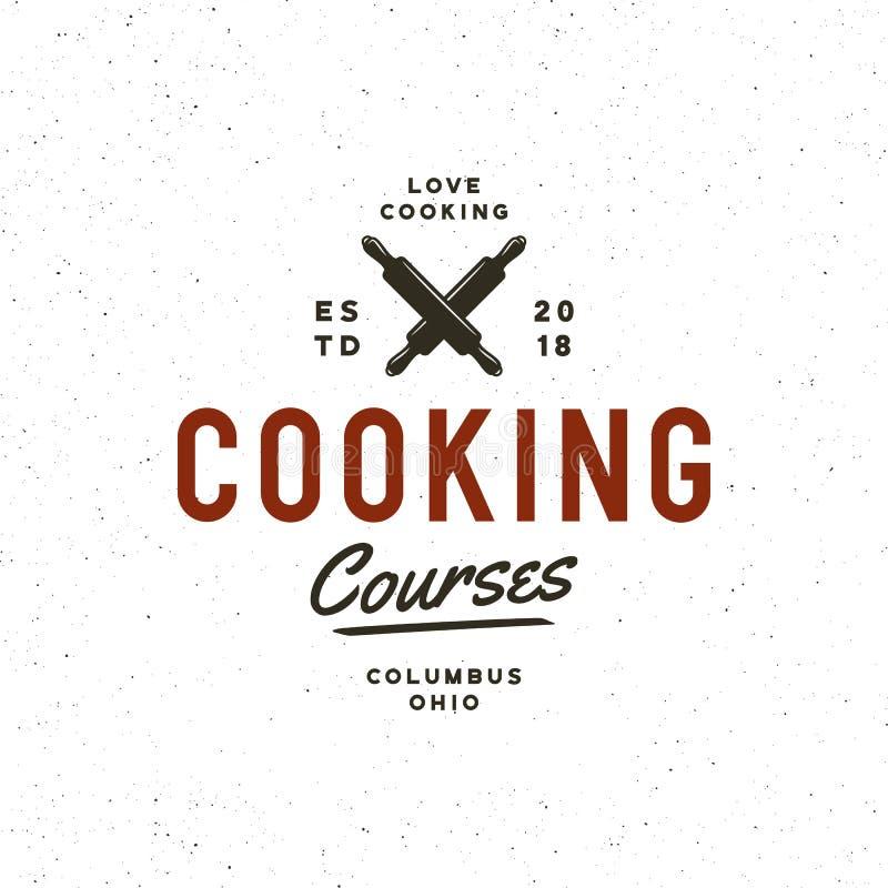 Rocznik kulinarnych klas logo retro projektujący kulinarny szkolny emblemat również zwrócić corel ilustracji wektora ilustracja wektor
