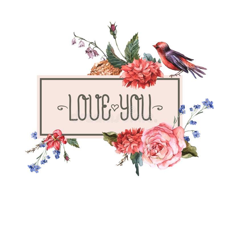 Rocznik kwiecista karta z różami i dzikimi kwiatami ilustracji