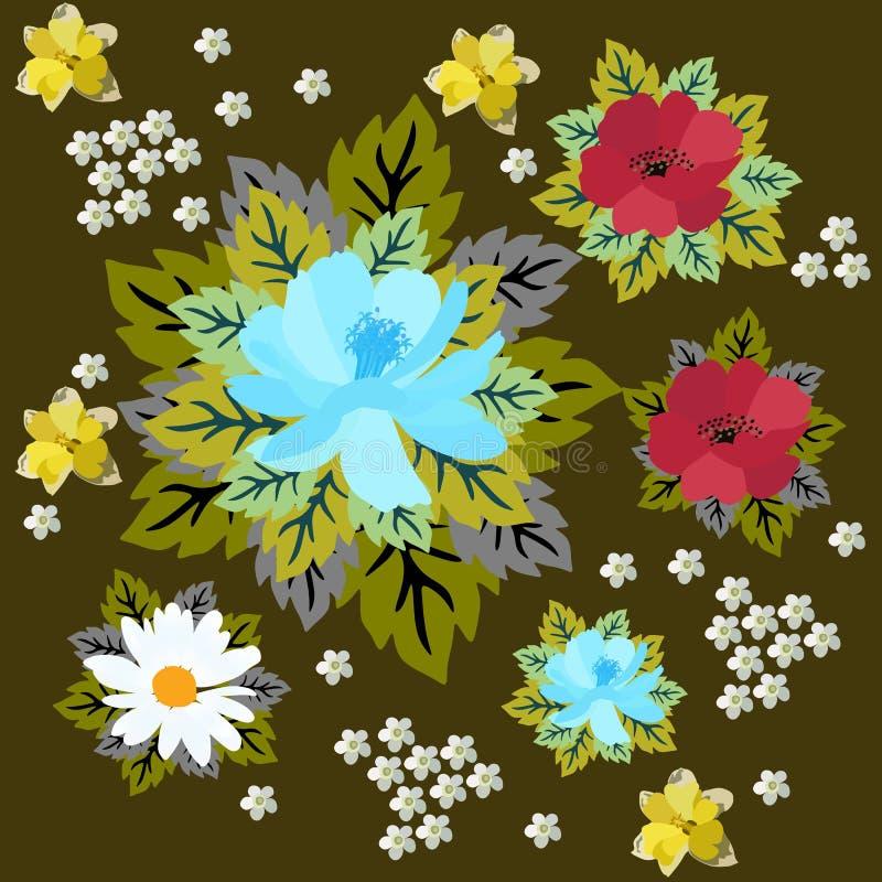 Rocznik kwiecisty i liścia wzór w wektorze Stokrotka, maczek, daffodil, krwawnik i kosmos, kwitniemy odosobnionego na ciemnego br royalty ilustracja